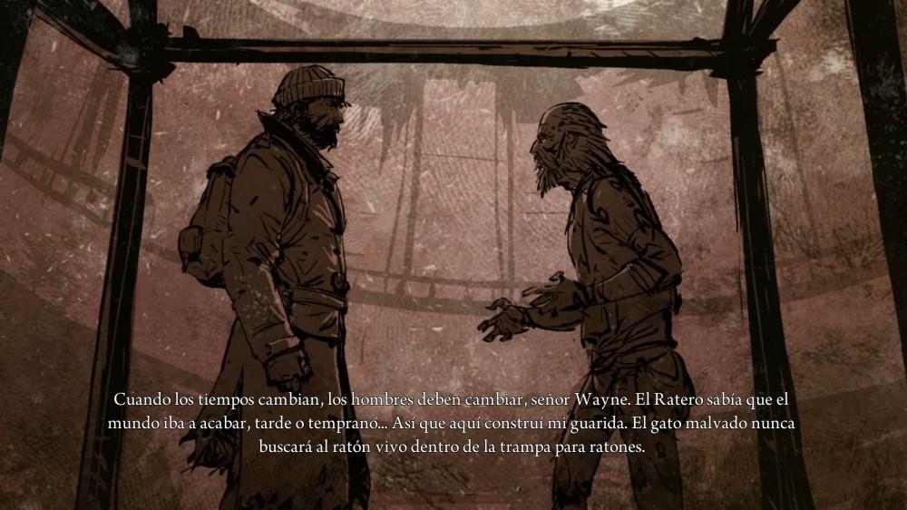 Randall habla con el Ratero, el típico friki postapocalíptico comerratas